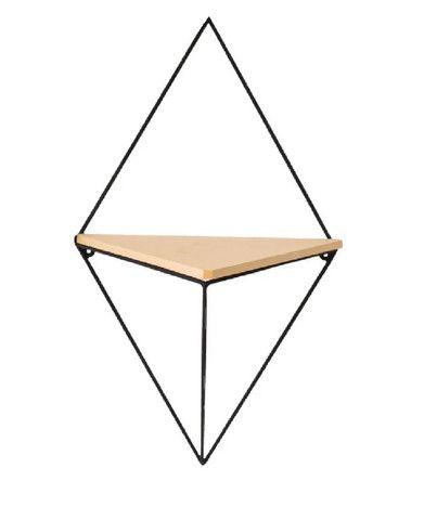 Nicho Prateleira Triangular de Metal e Madeira Cor Preto