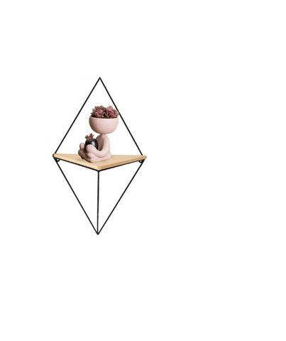 Nicho Prateleira Triangular de Metal e Madeira Cor Preto - Foto 3