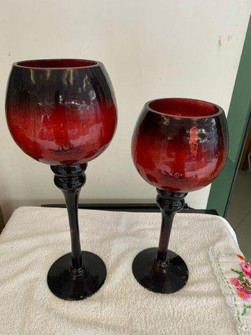 Castiçal de Vidro  vermelho-escuro , semi Novo - Foto 2