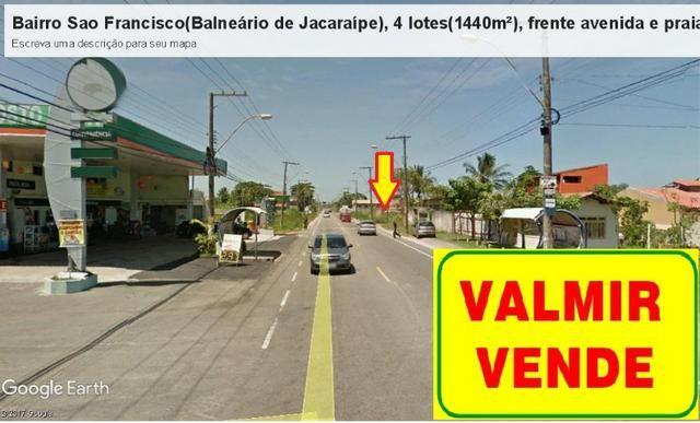 04 Lotes juntos, 360 m² cada, de frente à praia e avenida, no Balneário de Jacaraípe