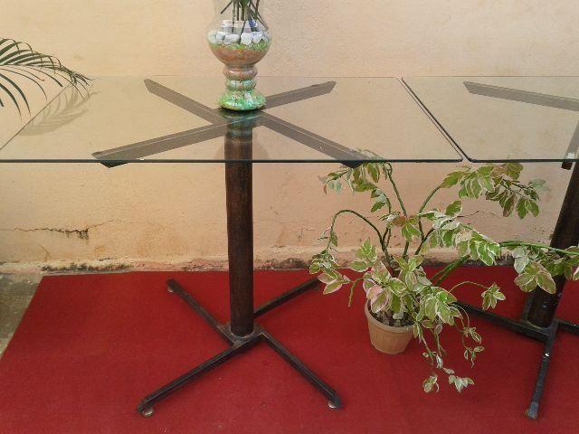 Barato Duas mesas com tampo de vidro grosso Blindex