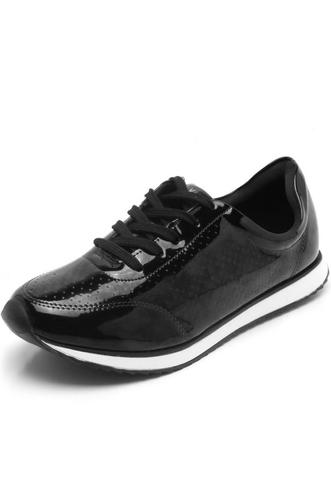 Tênis Jogging em Verniz Via Uno com Laser Cut Feminino - Preto ... 4038d900cd490