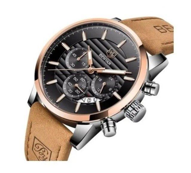 Relógio Masculino Benyar Original 5104 Bege/ Preto
