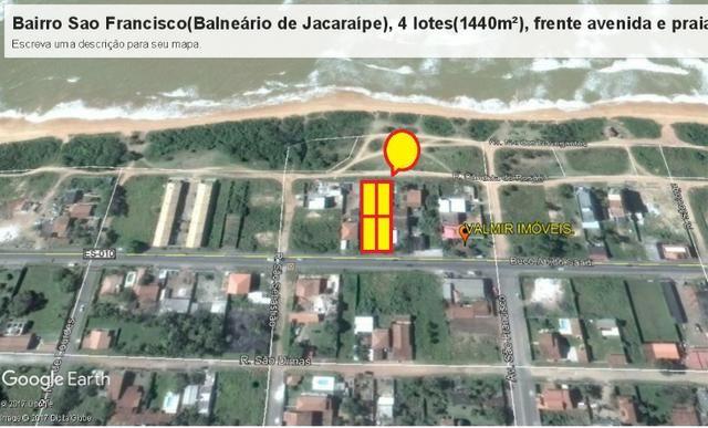 04 Lotes juntos, 360 m² cada, de frente à praia e avenida, no Balneário de Jacaraípe - Foto 8