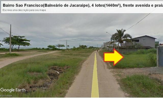 04 Lotes juntos, 360 m² cada, de frente à praia e avenida, no Balneário de Jacaraípe - Foto 5