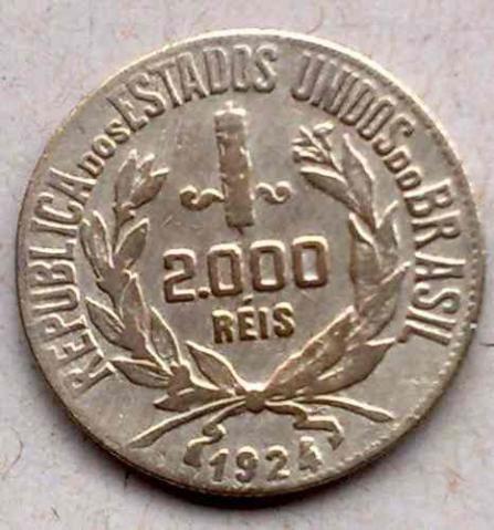 Moeda de Prata do Brasil - 2000 Réis 1924 - Oportunidade Imperdível