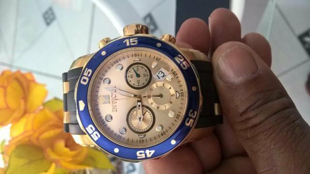 Relógio invicta original foliado a ouro