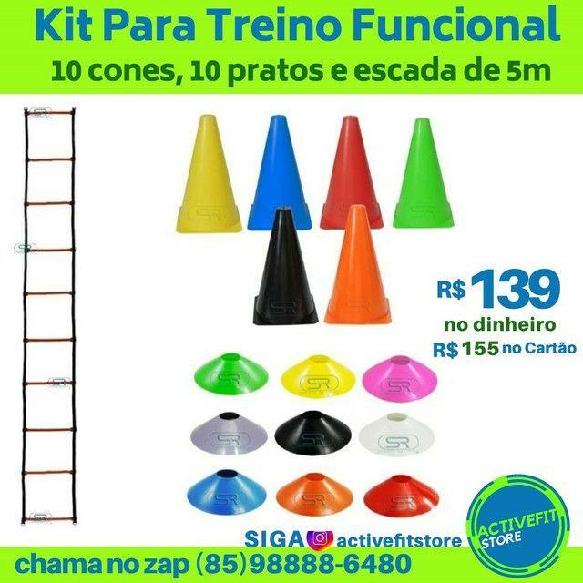 Kit para treino funcional 20 cones e escada 5m
