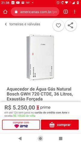 Vendo/ Troco - Aquecedor de Água Gás Natural Bosch GWH 720 CTDE, 36 Litros - Foto 2