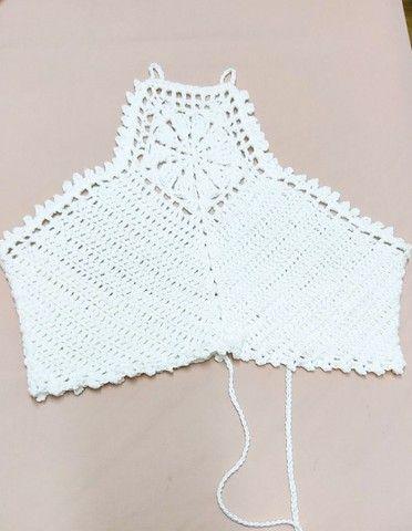 Top crochê plus size ( veste até 46)
