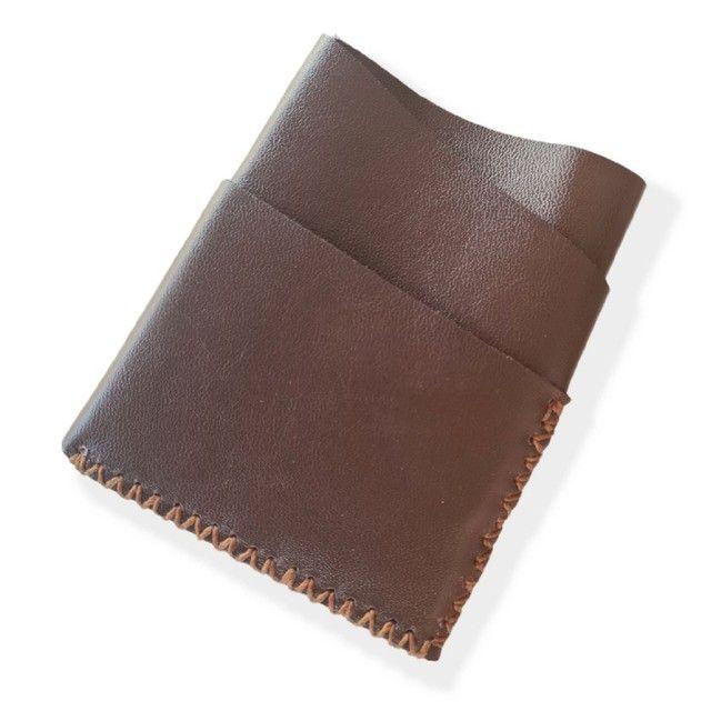 Carteira porta cartões e CNH em couro legítimo, artesanal