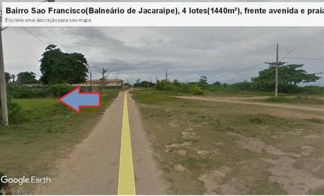 04 Lotes juntos, 360 m² cada, de frente à praia e avenida, no Balneário de Jacaraípe - Foto 4