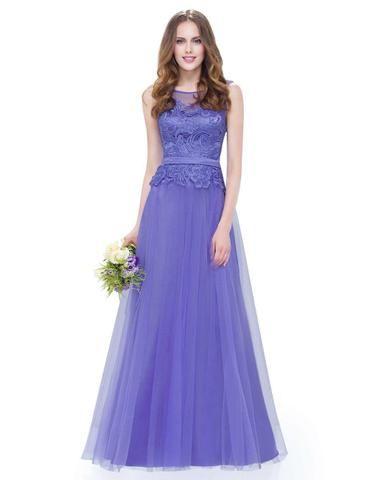 Vestido longo de festa lilás