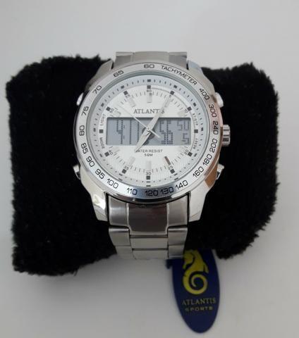 c1223593606 Relógio masculino aço inox funcional - Bijouterias