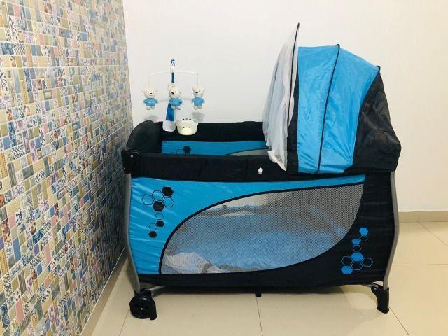 Berço Portátil Balanço com trocador e móbile Azul - Baby Style - Foto 2