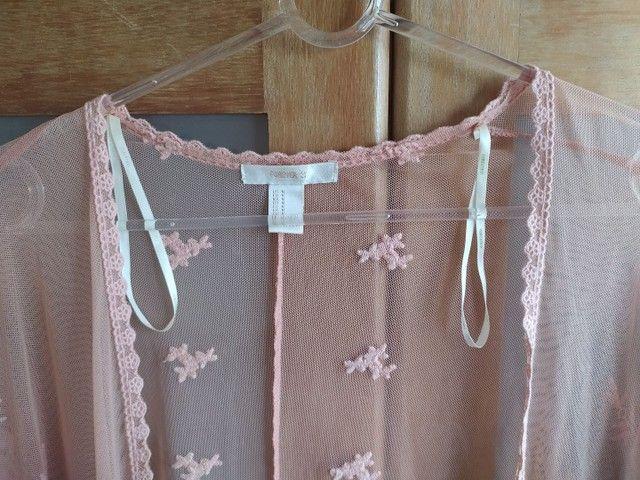 kimono rosê rendado Forever 21 - Foto 4