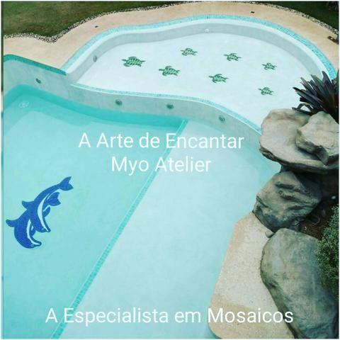 Fundo de Piscina Golfinho tartaruga mosaico