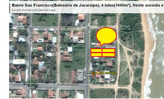 04 Lotes juntos, 360 m² cada, de frente à praia e avenida, no Balneário de Jacaraípe - Foto 7