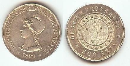 Moeda de Prata 500 Réis 1889 da República do Brasil - Flor de Cunho - a Primeira Moeda