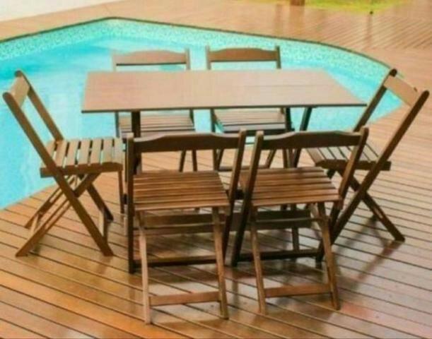 Conjunto Mesa Madeira (120x70 + 4 )Cadeira Dobrável-Aproveite nossa preço