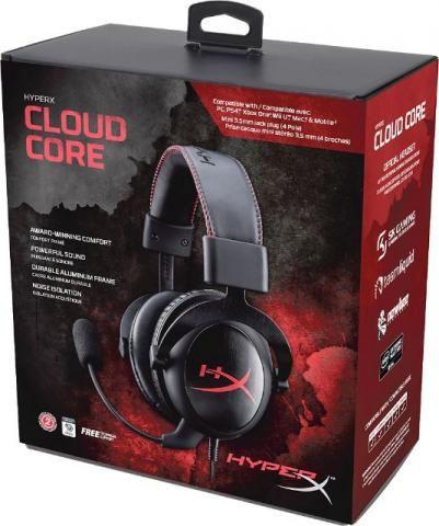Fone de Ouvido Headset Gamer Kingston HyperX Cloud Core khx-hscc-bk-lr Preto/Vermelho-novo