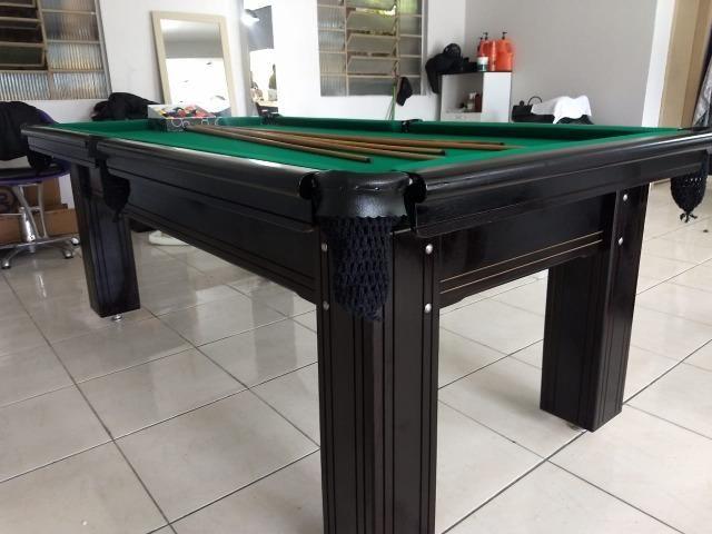 Mesa Madeira Semi oficial | Mesa Preta | Tecido Verde | Modelo: AAWF3555