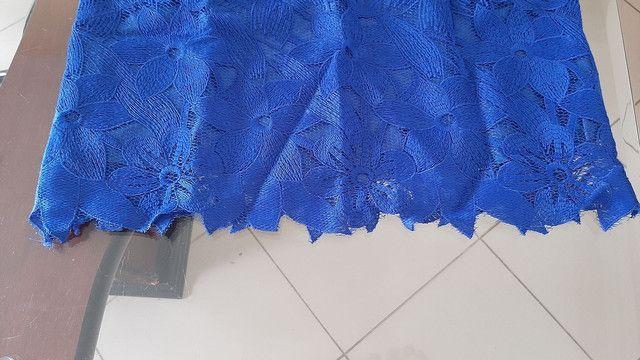 Croped azul em renda forrado  - Foto 2