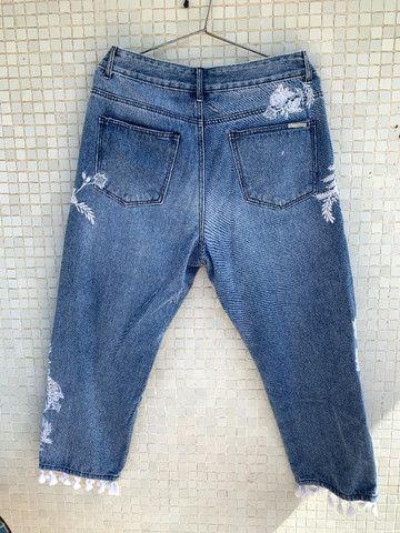 Calça Jeans Bordada Aquamar - Foto 2