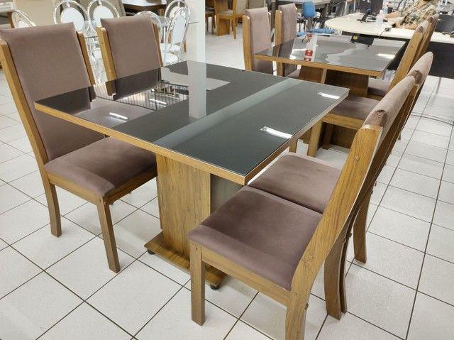 Mesa com 4 Cadeiras 100% MDF. Tampo de vidro - Foto 4
