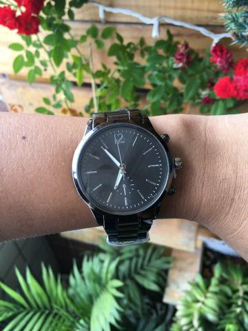 Relógio Unissex Analógico Aço Cinza Espacial