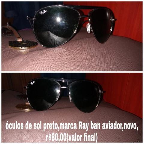 Óculos de sol preto Ray Ban aviador original,novo - Bijouterias ... efb76640a9