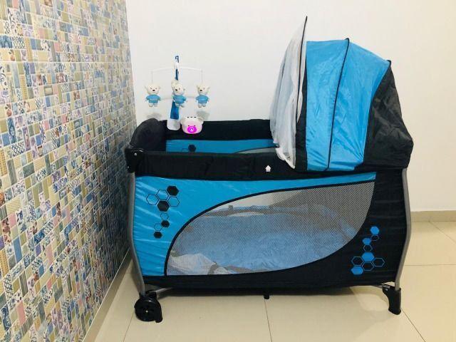 Berço Portátil Balanço com trocador e móbile Azul - Baby Style