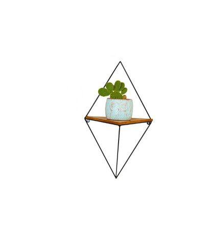 Nicho Prateleira Triangular de Metal e Madeira Cor Preto - Foto 2