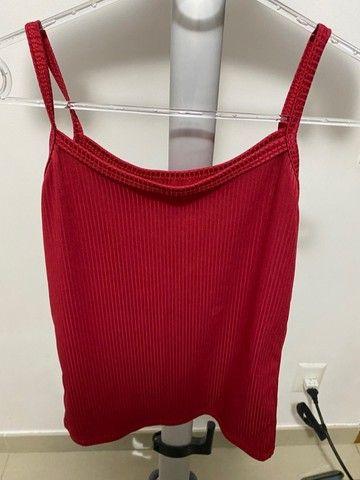 Blusa de alcinha canelada vermelha