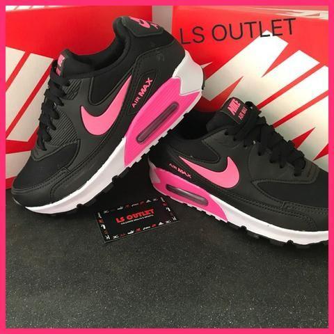 01e6866785b6e Tênis Nike AIRMAX90 Preto rosa oferta imperdível Disktenis - Roupas ...