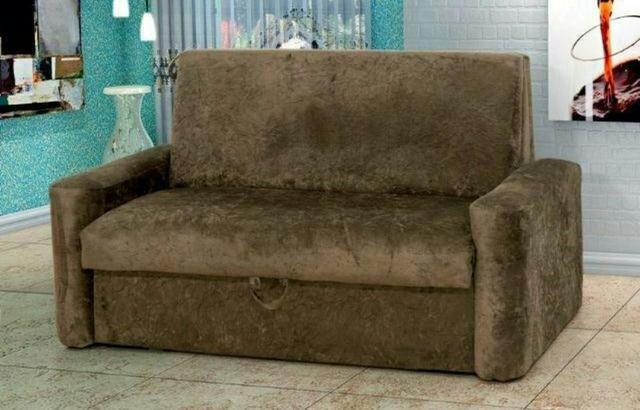 Sofá cama Daiane com Baú Tecido suede Marrom ou cinza - Faça seu pedido agora965008204