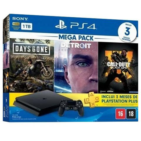 Playstation 4 Slim 1TB Bundle Mega Pack + 3 Meses de PS Plus