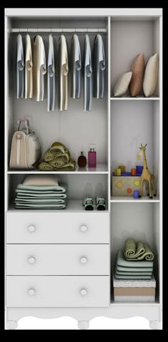 Roupeiro Infantil 3 Portas - Junior *NOVO* ShopMix Móveis - Foto 3