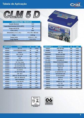 Bateria de Moto CLM 5 D - Cral - Foto 2