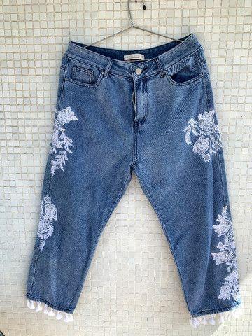 Calça Jeans Bordada Aquamar