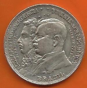 Moeda de Prata Comemorativa do Brasil - 2000 Réis 1922 - Centenário da Independência