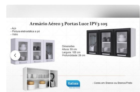 Armário Aéreo 3 portas Luce - Foto 2