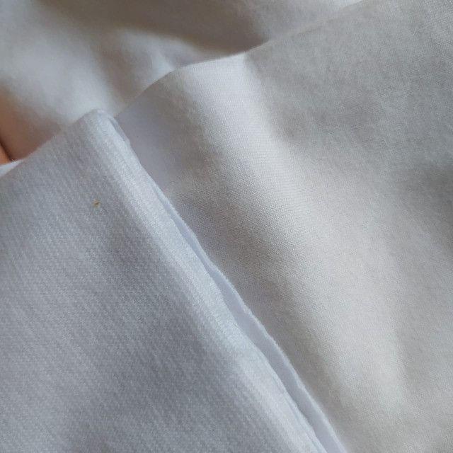 Tecido algodão 100% branco e ribana branca - Foto 2