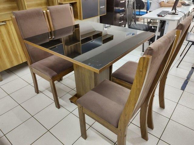 Mesa com 4 Cadeiras 100% MDF. Tampo de vidro - Foto 3