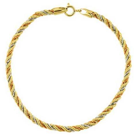 Pulseira de Ouro 18k Nova Linda com Três Tipos de Ouro Entrelaçados - Amarelo Branco Rosa