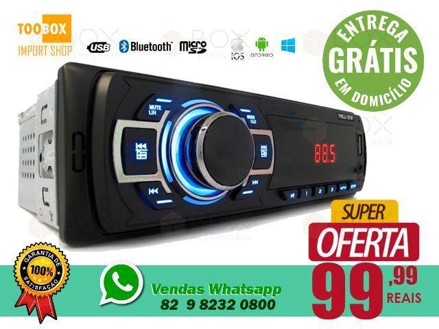 Som Automotivo - Bluetooth, Viva Voz, SD, USB, FM/AM - Entrega Grátis