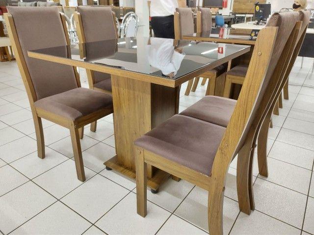 Mesa com 4 Cadeiras 100% MDF. Tampo de vidro - Foto 6