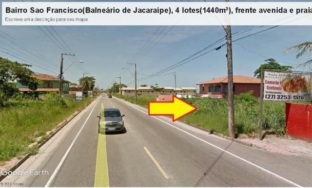 04 Lotes juntos, 360 m² cada, de frente à praia e avenida, no Balneário de Jacaraípe - Foto 2
