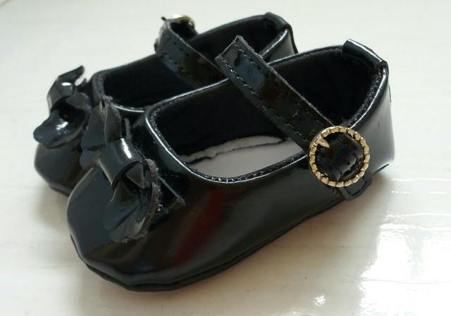 Sapato de verniz preto, para bebê, número 15