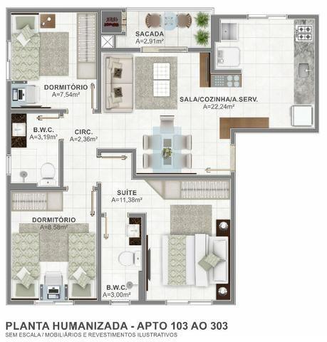 Lançamento em Areias 2 e 3 dormitórios São José SC